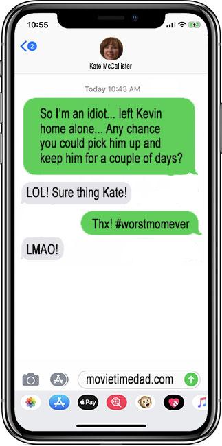 Kate McCallister messaging a friend with modern phone