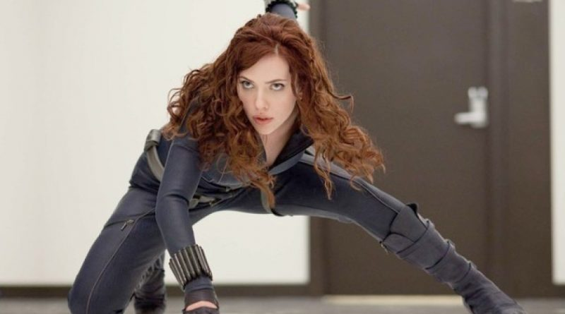 Black Widow posing dramatically in Iron Man II