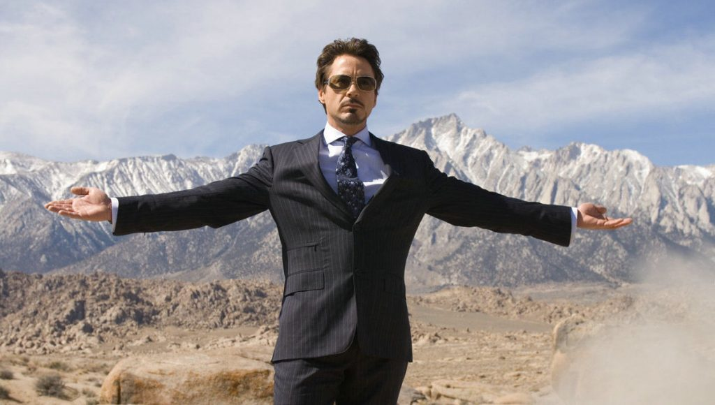 Iron Man showing off taking thunder from Black Widow
