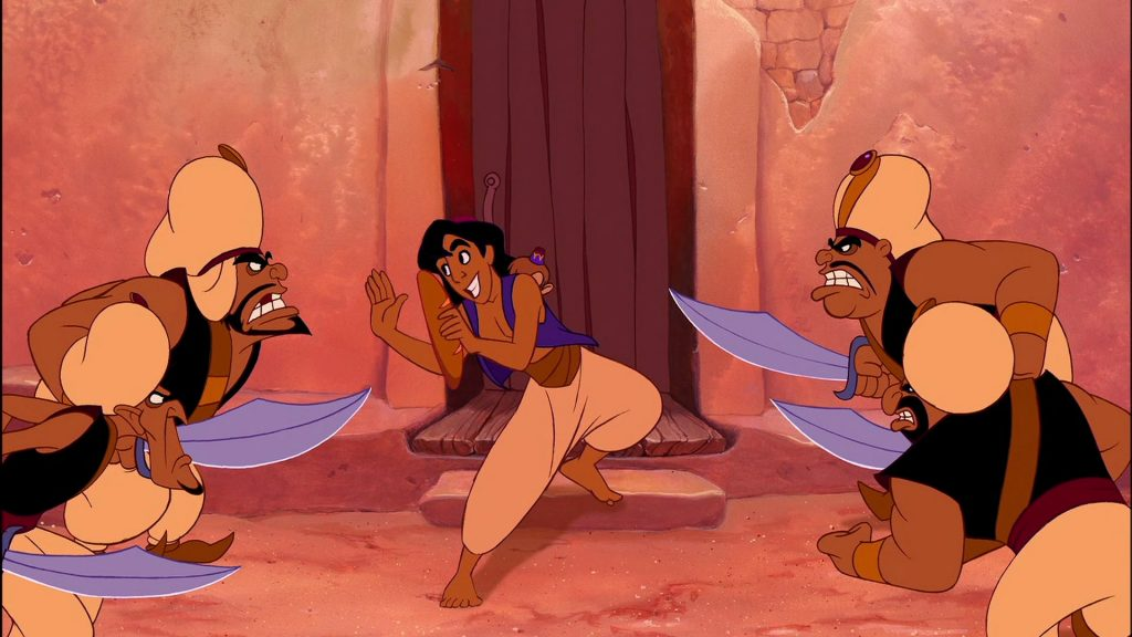 Aladdin (1992) escaping guards