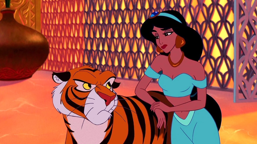Aladdin (1992) Jasmine looking at Rajah