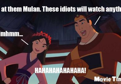 Mulan and Shang laughing at audience