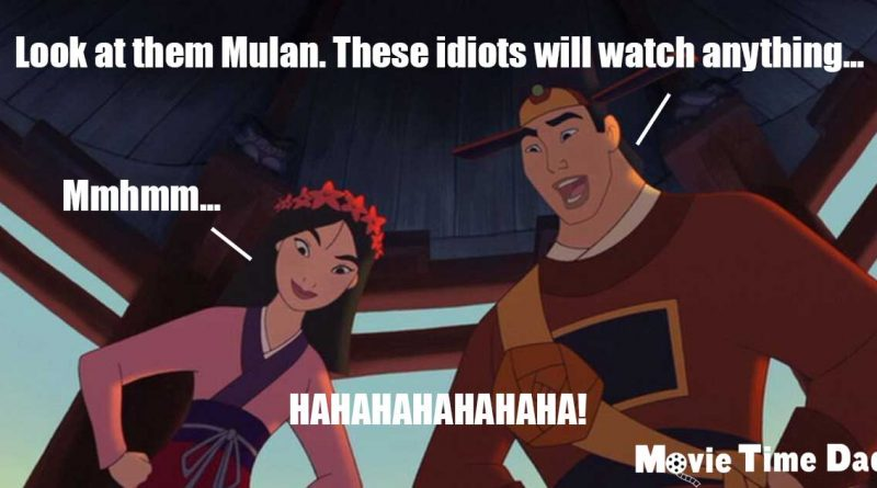 Mulan and Shang laughing at audience