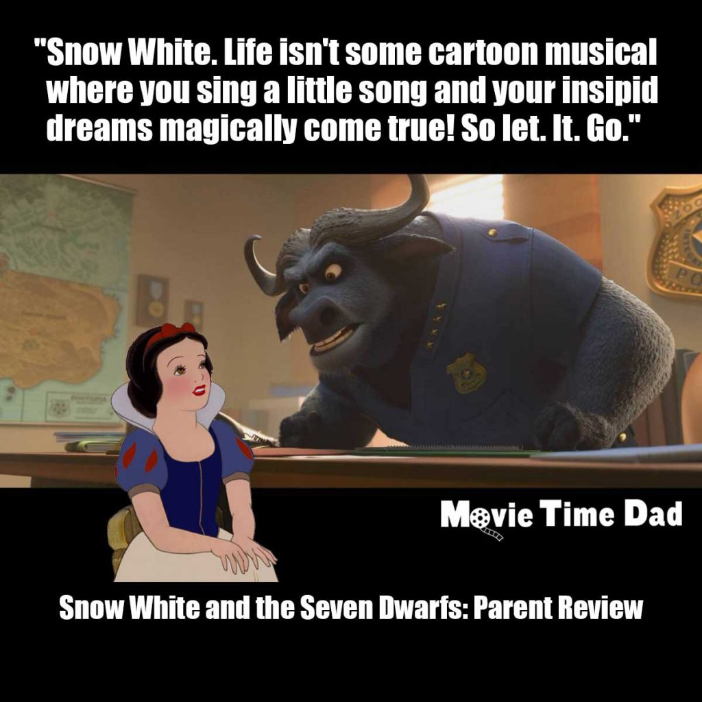 Snow White and Chief Bogo discussing her insipid dreams.