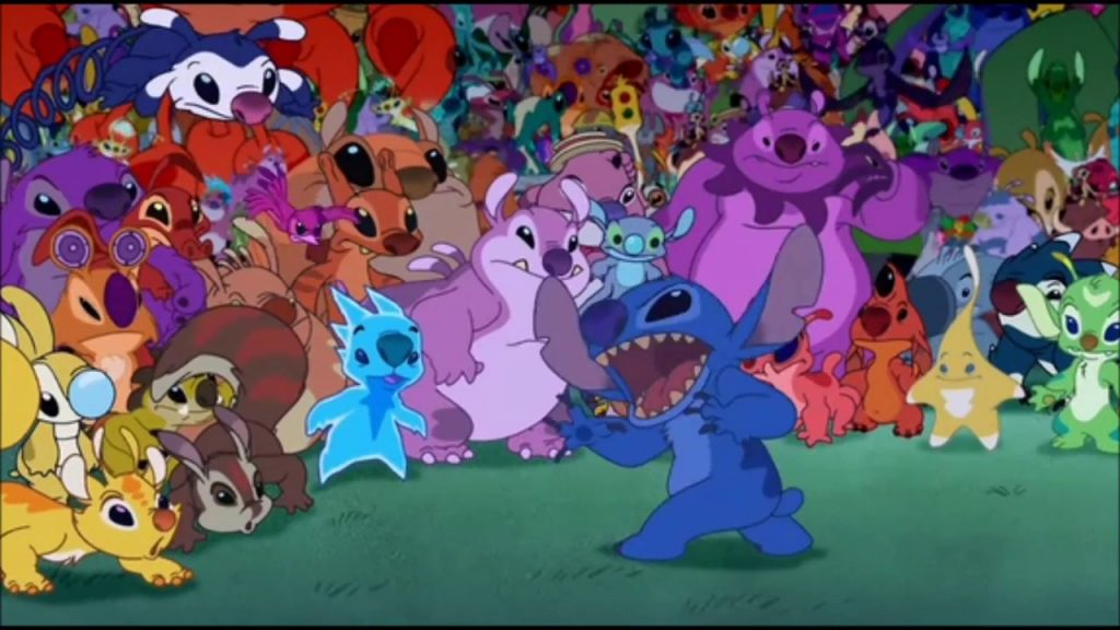 Stitch rallying his cousins to fight