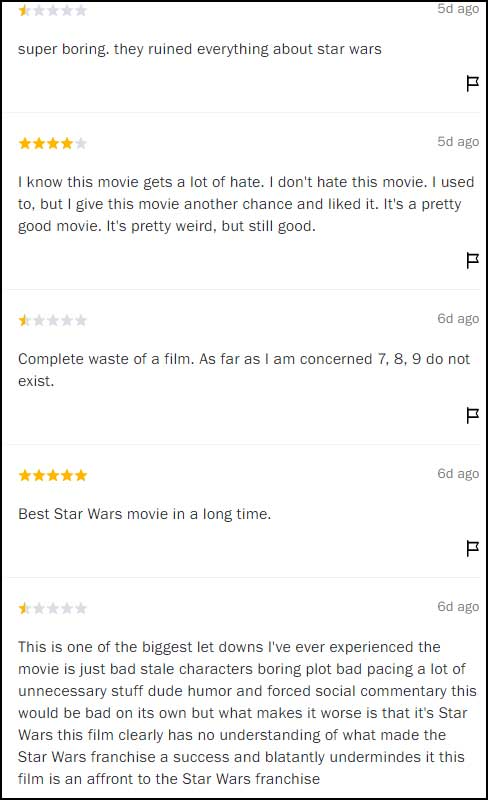 Star Wars: The Last Jedi reviews screen shot