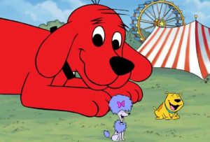 Clifford the big red dog at the carnival with friends