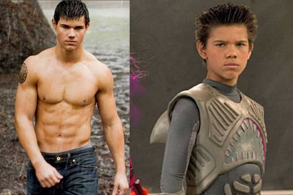 Taylor Lautner shirtless and as Sharkboy